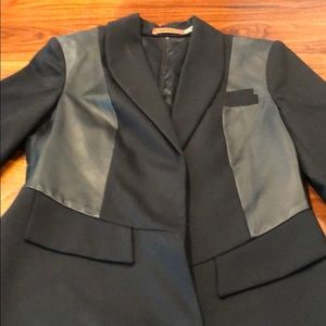 Alice & Olivia black leather and Wool blazer Med